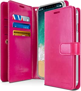 Goospery Mansoor Wallet for Apple iPhone Xs Case (2018) iPhone X Case (2017) Double Sided Card Holder Flip Cover (Hot Pink) IPX-Man-HPNK