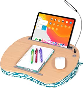 Lap Desk for Laptop and Writing with USB Light - Teal Strokes - Laptop Stand Accessories - Home Office Tray - Work from Home - Car Sofa Chair Couch Portable Desk - Pillow - Tablet Slot