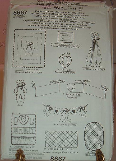 Amazon Com Simplicity Craft Pattern 8667 10 Piece Nursery