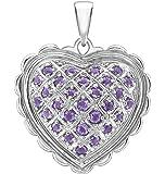 Carissima Gold Women's 18 ct White Gold Amethyst Heart Pendant of 2.6 cm