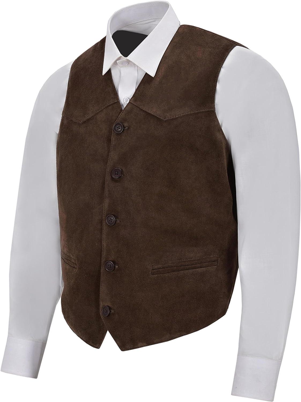 Smart Range Men/'s Brown Suede Real Leather Waistcoat Western Cowboy Festival Party Vest Zara