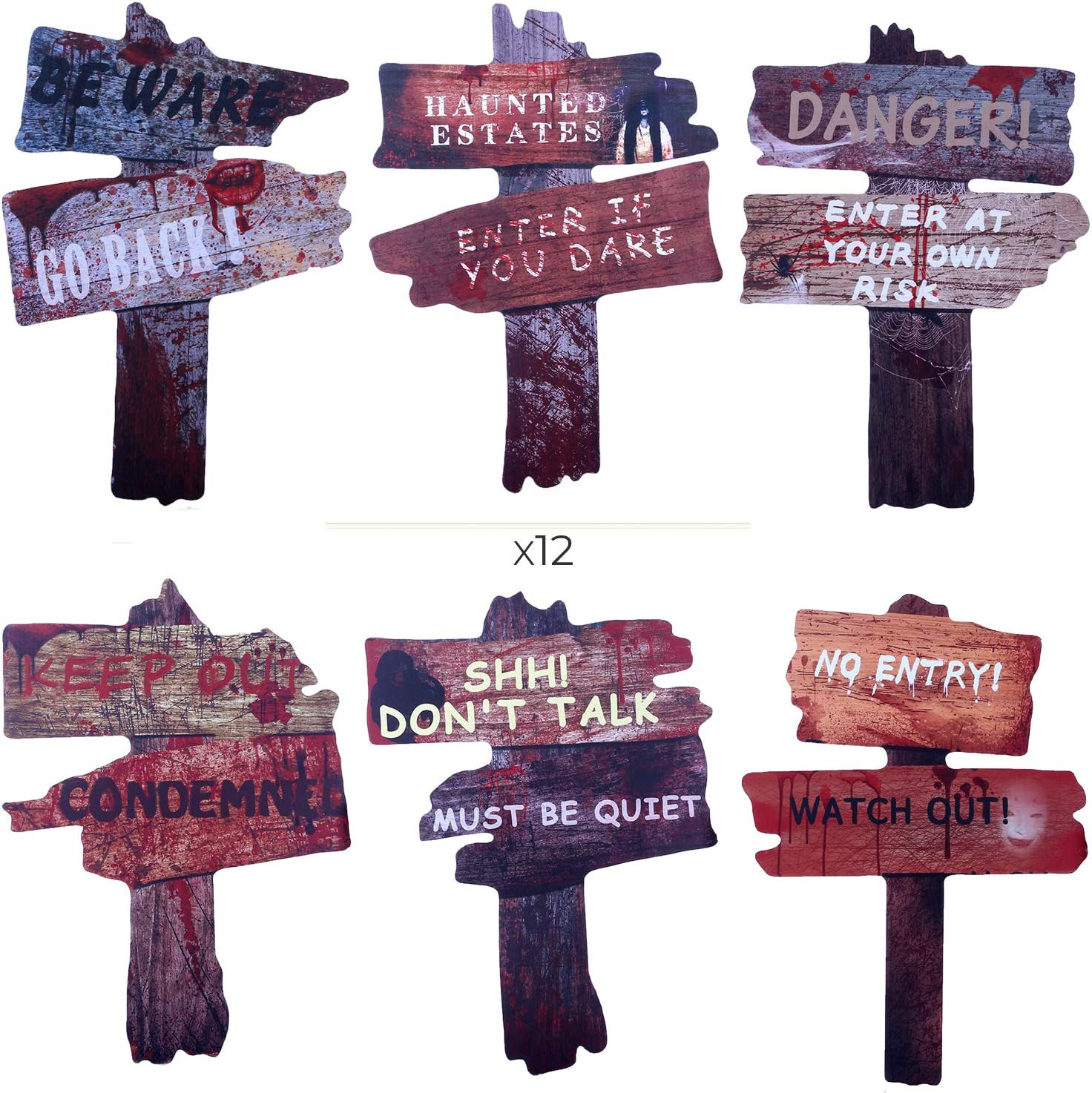 DEMESEX Halloween Decorations Halloween Yard Signs Spooky Warning Stake Waterproof Corrugated Board Larger Size Eye-catching Halloween Yard Décor for Lawn, Garden, Yard, Driveway (5pcs)