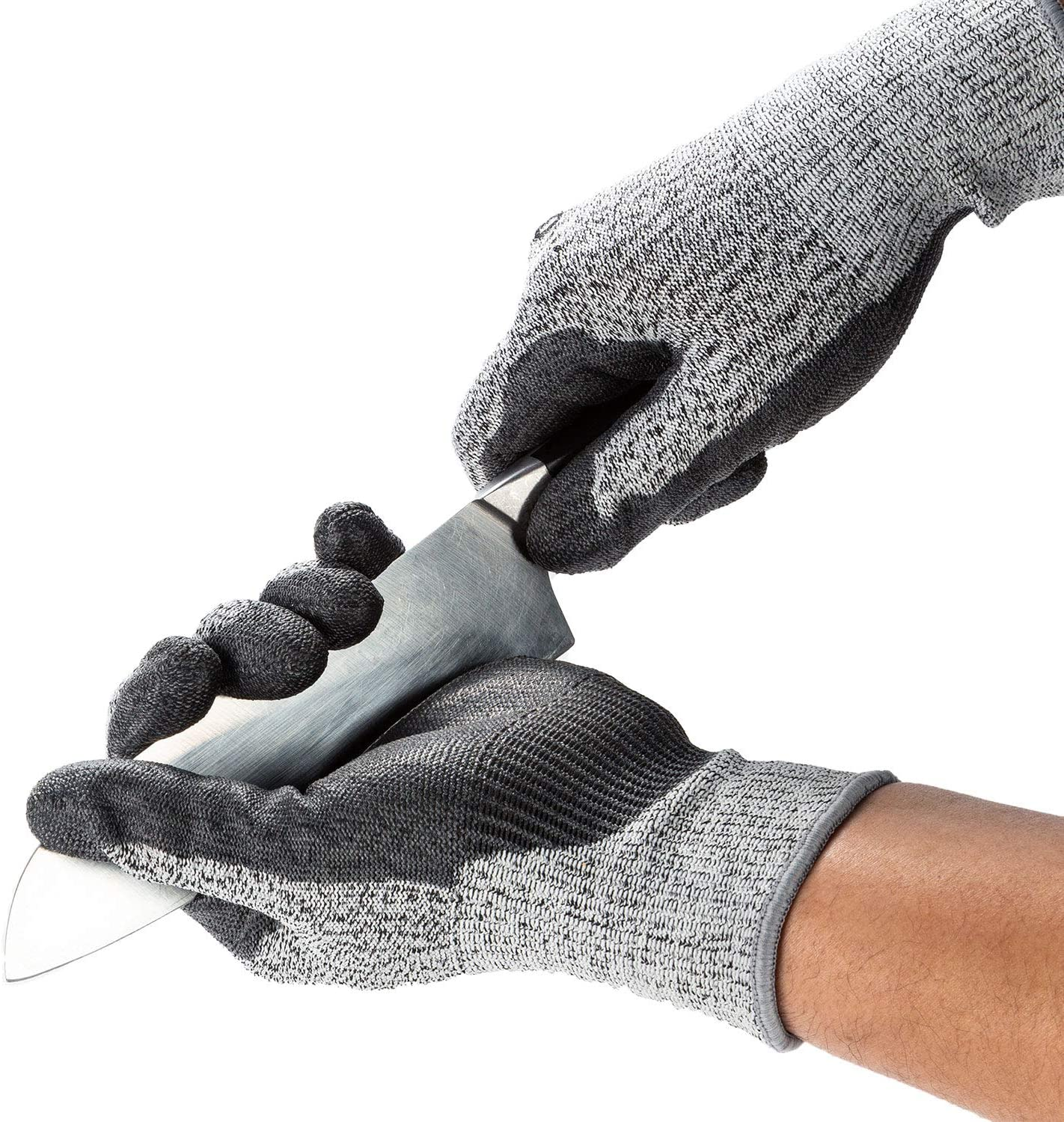 Vgo 2-Pairs Level 5 Cut Resistant Gloves EN388 Certified Hand Protection Gloves (Size M, Grey, SK2131)