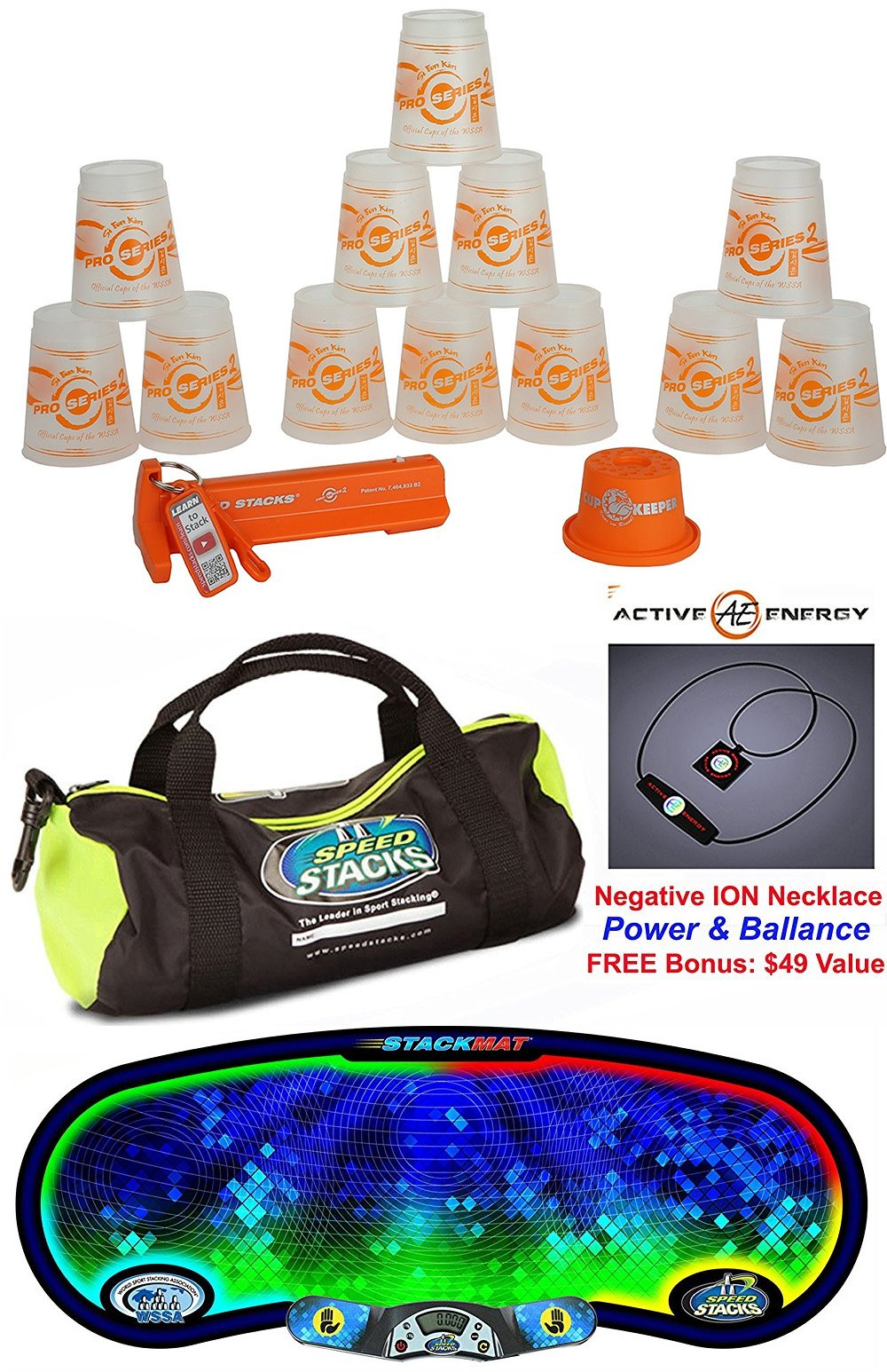 Speed Stacks The Works Custom Combo Set: 12 PRO Series 2 ORANGE/CLEAR Si Eun Kim 4'' Cups, Cup Keeper, Quick Release Stem, Pro Timer G4, Gen 3 Mat, Gear Bag + Active Energy Necklace $49 Value by Speed Stacks
