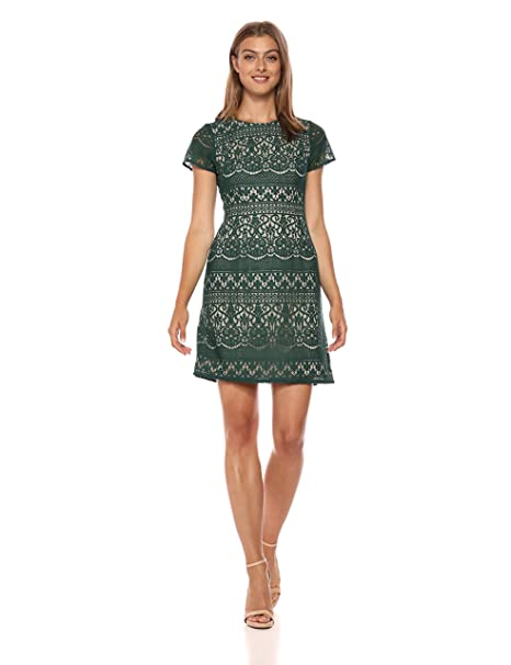 Adrianna Papell Womens Scalloped Striped Lace A Line Dress