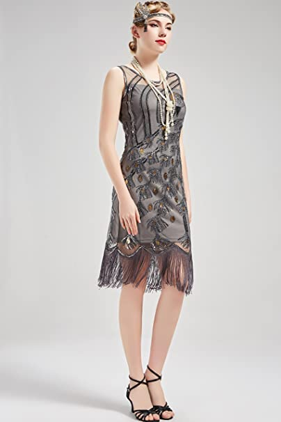 Gatsby Abendkleid Pfau Kleider Flapper Artideco Kostüm Damen Knielang 20er 1920s Jahre Kleid Muster Vintage WD2IeEH9Y