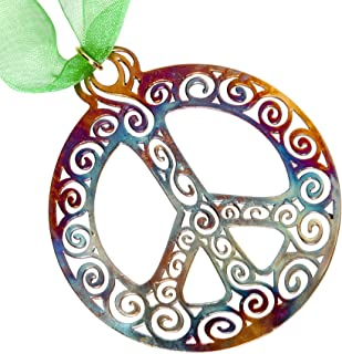 product image for Filigree Peace Symbol Ornament with Ribbon