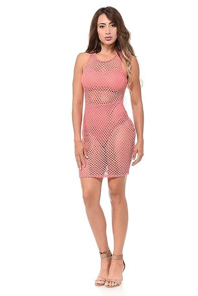 Love J Womens Bodycon Fishnet Dress
