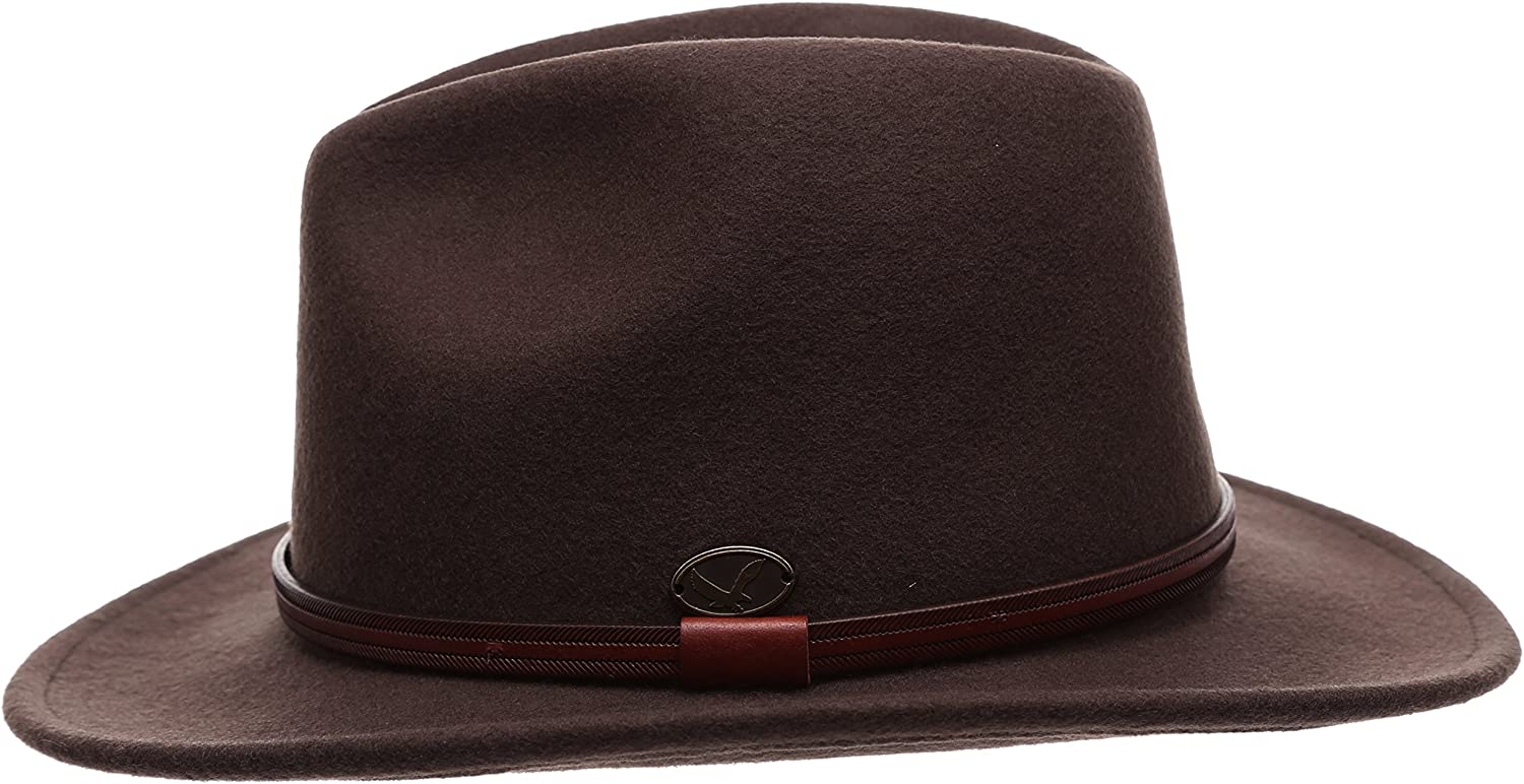 Mens Premium Wool Outback Fedora with Faux Leather Band Hat with Socks.