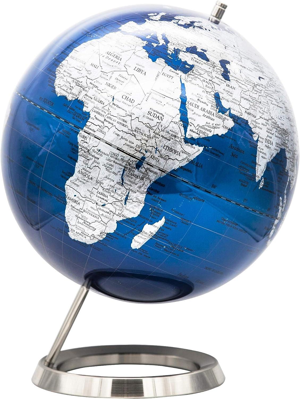 Exerz 25cm Globe Bleu Métallique - en Anglais - Décoration de Bureau Éducationnel/géographique/Moderne - avec Base en métal - Diamètre: 25cm