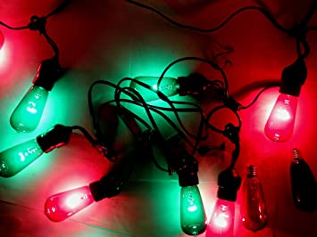 Amazon.com : 15 ft edison bulb string lights 10x bulbs red green