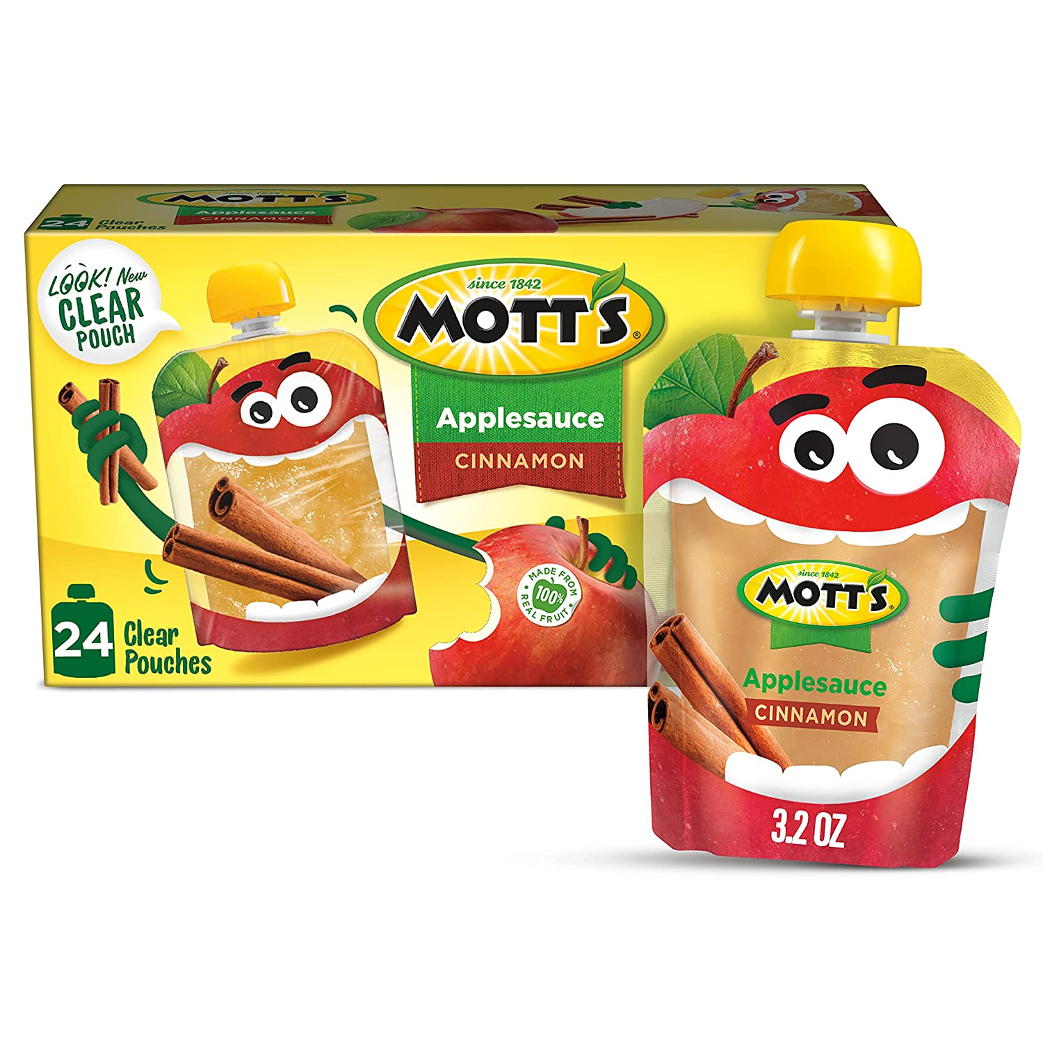 Mott's Cinnamon Applesauce, 3.2 Ounce Clear Pouch, 4 Count (Pack of 6), Perfect for on-the-go, Gluten Free and Vegan