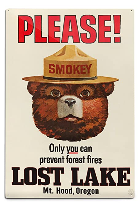 e24cc63d3d1 Amazon.com: Lost Lake, Oregon - Mt. Hood - Smokey Bear - Vintage Poster  (12x18 Aluminum Wall Sign, Wall Decor Ready to Hang): Posters & Prints