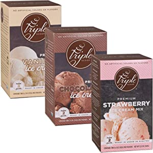Triple Scoop Premium Ice Cream Mix, Neapolitan Combo, ice cream starter for use with home ice cream maker, no artificial flavors, ready in under 30 mins, makes 6 qts (3 15oz boxes)