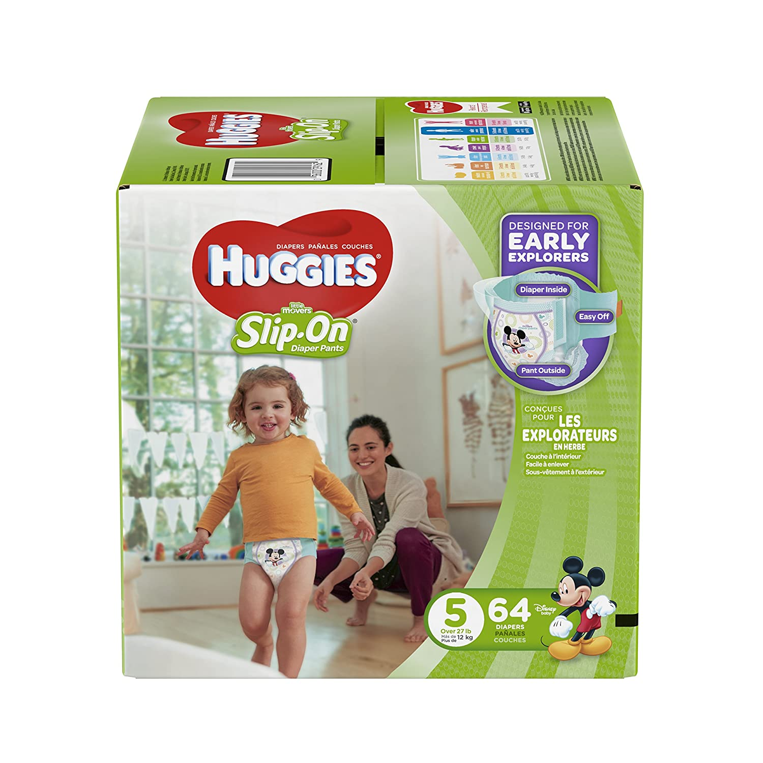 HUGGIES LITTLE MOVERS Slip-On Baby Diapers, Size 5, 64ct Kimberly-Clark Corp. CA 10036000291626