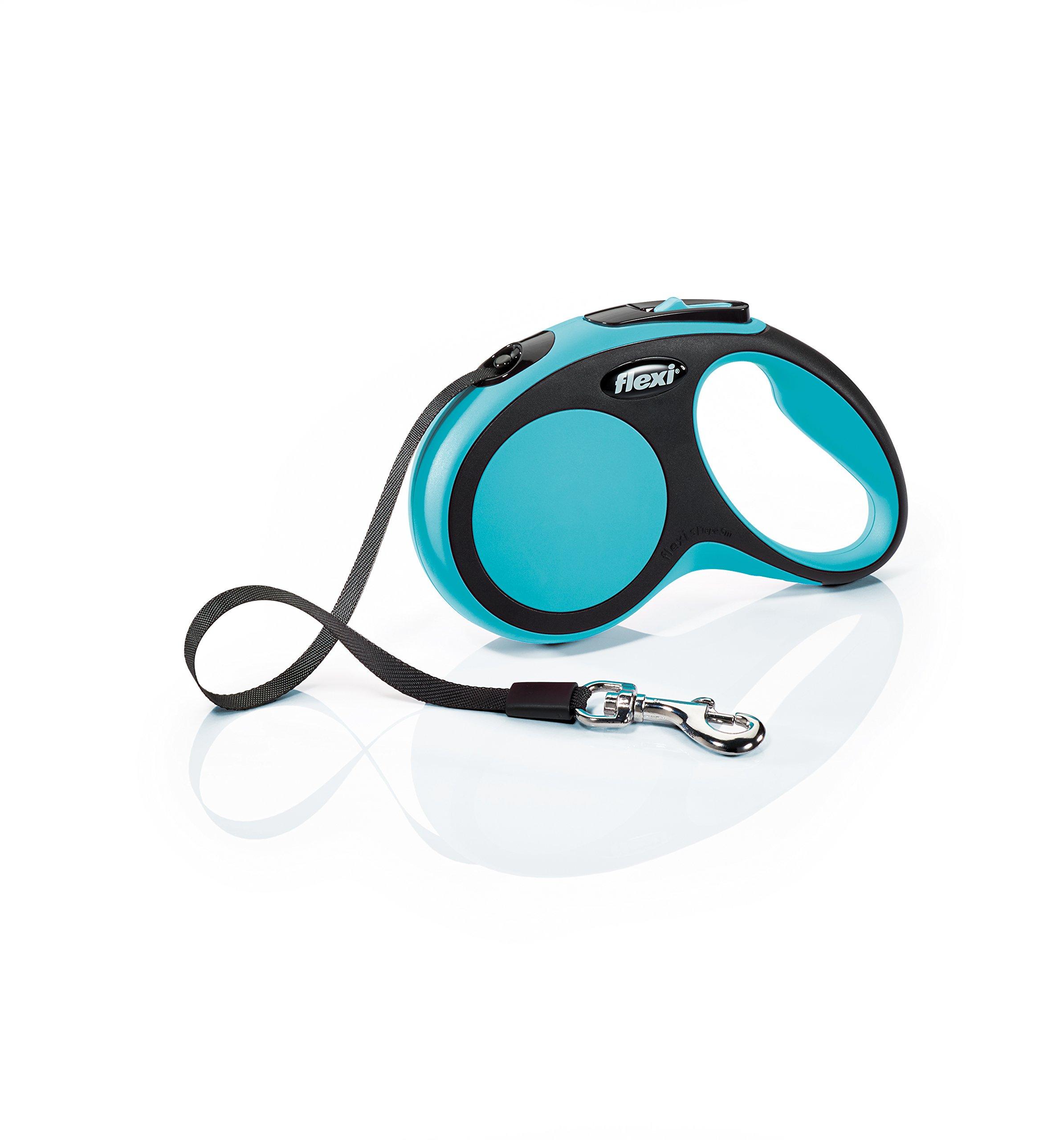 Flexi New Comfort Retractable Dog Leash (Tape), 16 ft, Small, Blue