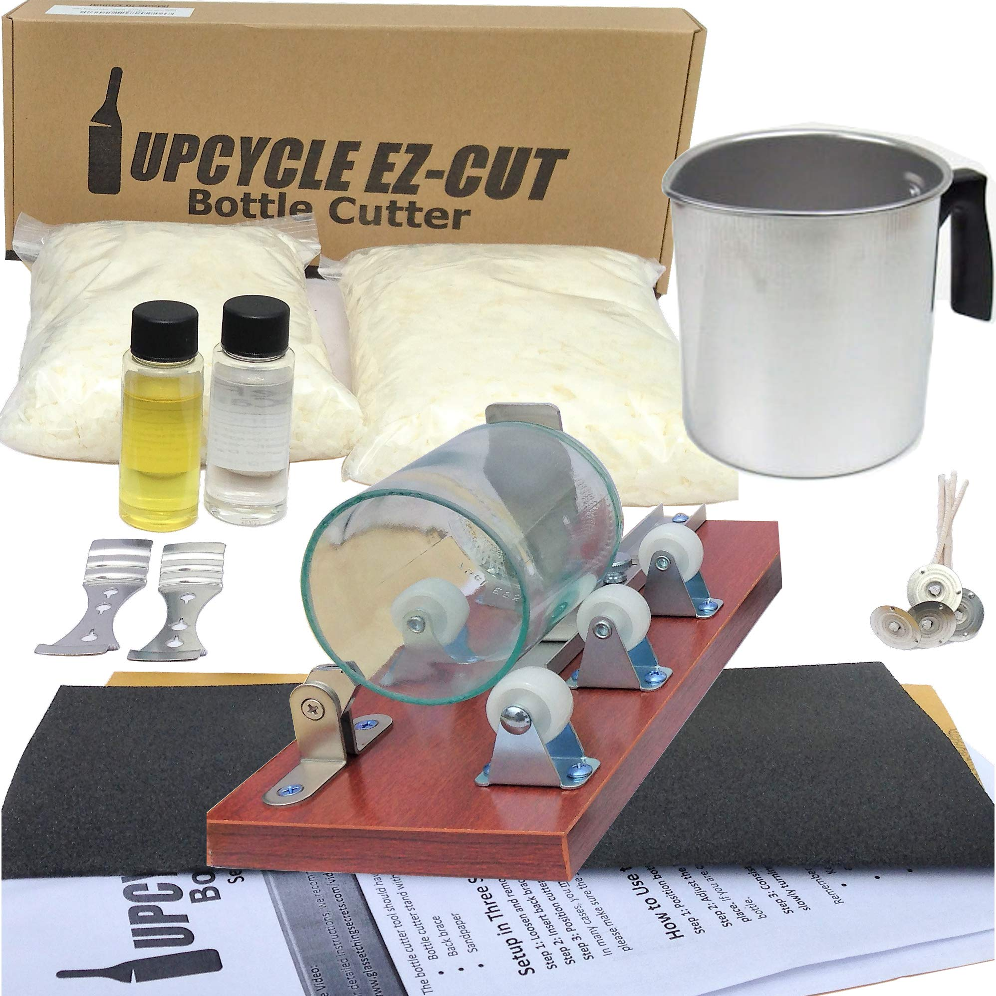 Deluxe Candle Making Kit & Supplies - with Glass Bottle Cutter to Make Candles Out of Wine Bottles - with 2 LB Soy Wax, 2 Scents, Wicks + Holders & Pitcher