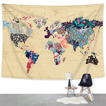 Amazon floral watercolor world map tapestry colorful printed floral watercolor world map tapestry colorful printed wall hanging for living room bedroom dorm home decor gumiabroncs Images