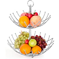 Fruit Basket Stand By Luxe Premium (Silver Color) - 2 Tier Fresh Veggie Holder Iron Wire for Large Capacity-modern Kitchen Countertop Storage for Exotic & Tropical Fruits, Bananas.