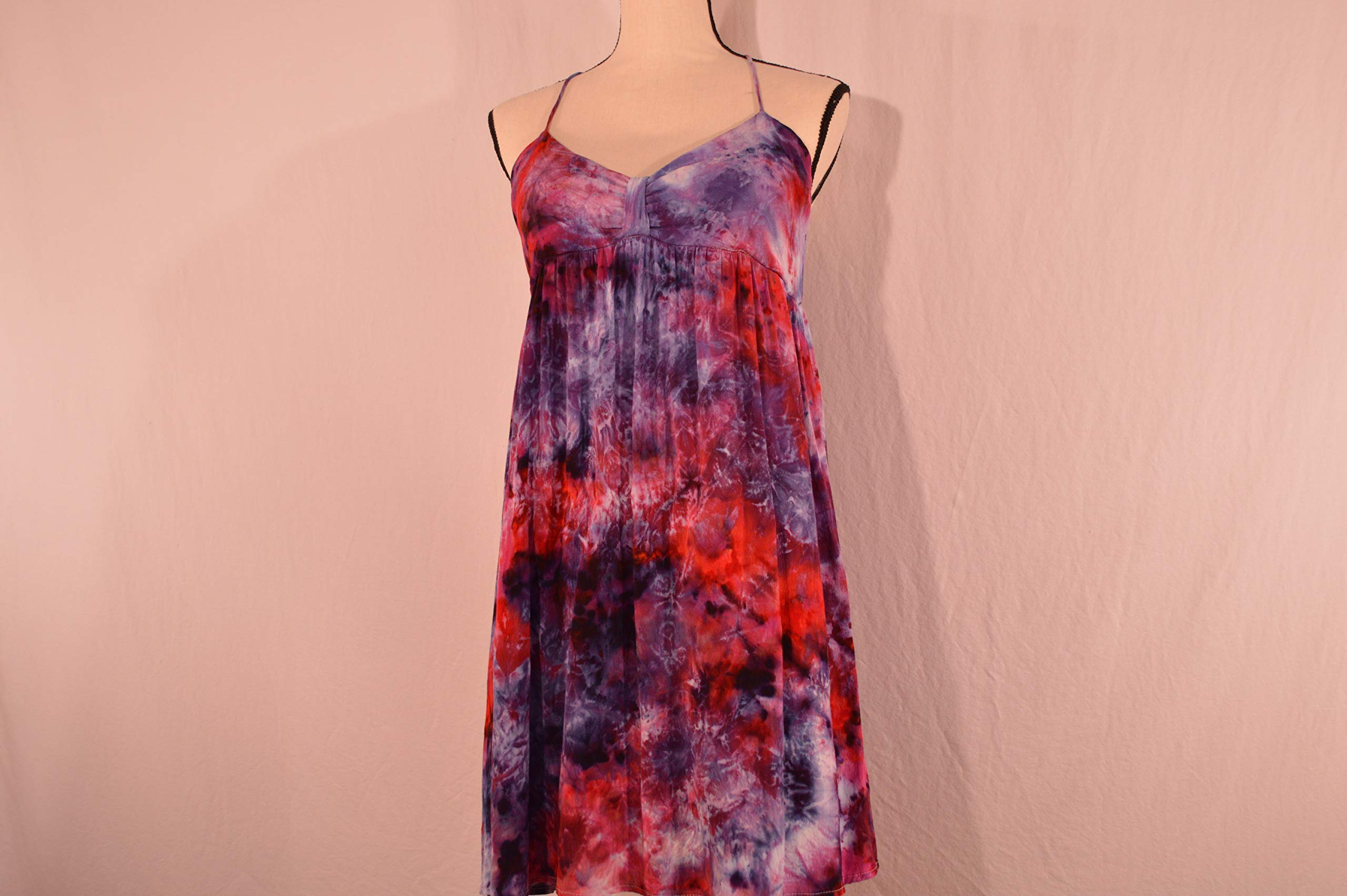 Women's Large Ice Dyed Tie Dye Dress Spaghetti Straps