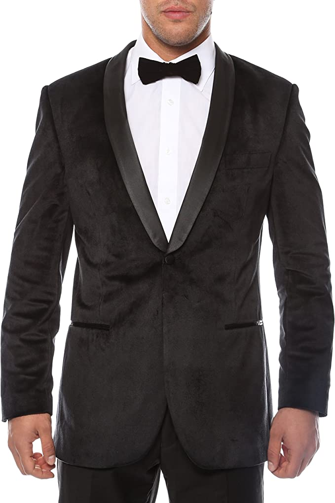 Ferrecci Men's Velvet Blazer One Button Wedding Tuxedo