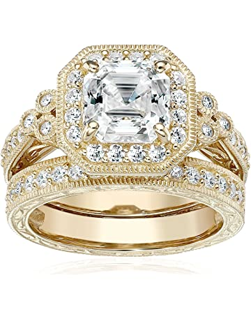1f389d71e Platinum or Gold Plated Sterling Silver Swarovski Zirconia Antique Ring Set