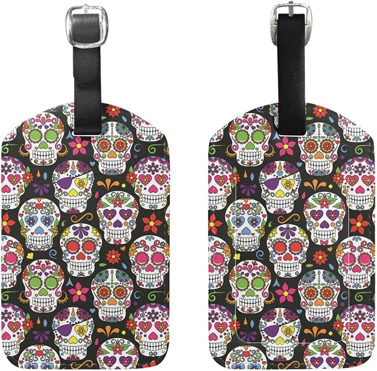 Skull luggage tag Luggage tag skull Personalized bag tag. Luggage tag leather Leather luggage tag Luggage tag Sugar skull luggage tag