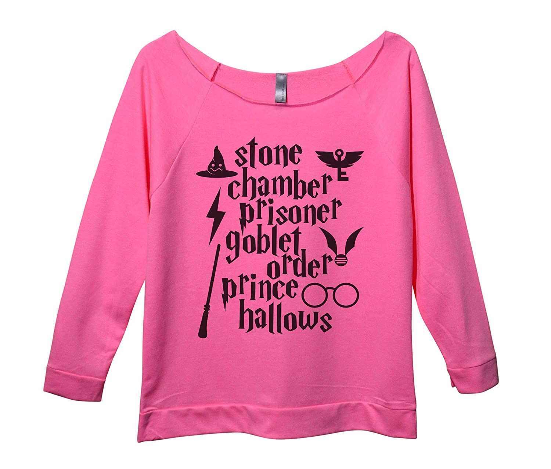 "07d61e4c834f0 Funny Threadz Womens Raw Edge Harry Potter Sweat Shirt 3/4 Sleeve ""Stone  Chamber Prisoner Goblet Order Prince Hallows"