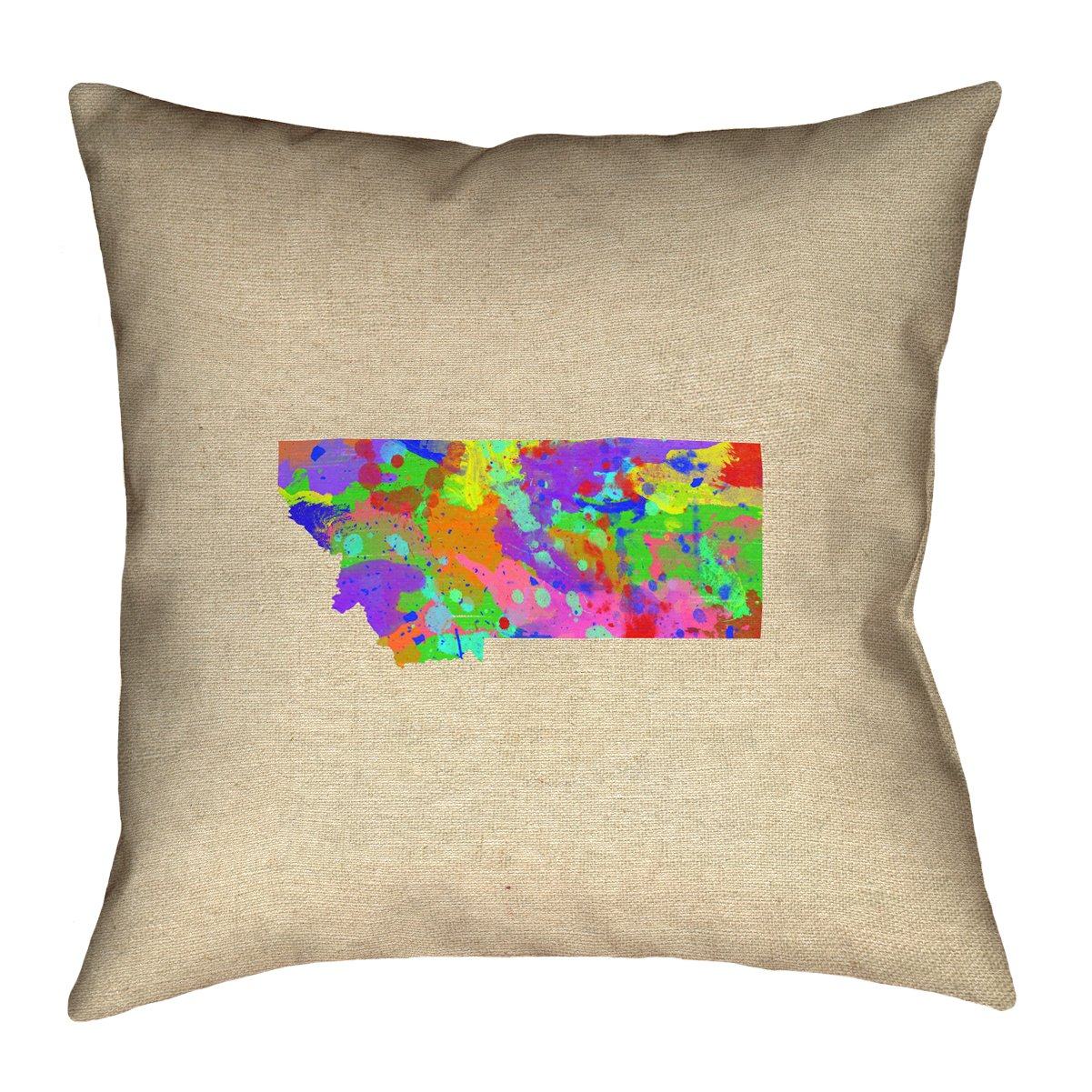 ArtVerse Katelyn Smith Montana Watercolor 14' x 14' Pillow-Faux Linen (Updated Fabric) Double Sided Print with Concealed Zipper & Insert