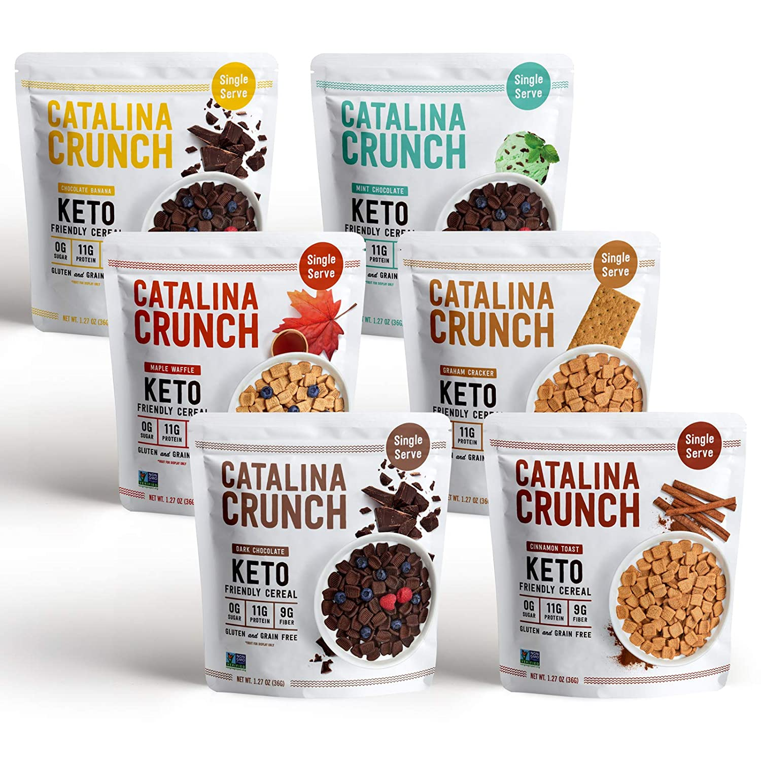 Catalina Crunch Keto Cereal Single Serve Pouches (1.27oz/pouch) 6 Flavors Variety Pack: Keto Friendly, Low Carb, Zero Sugar, Plant Protein, High Fiber, Gluten & Grain Free