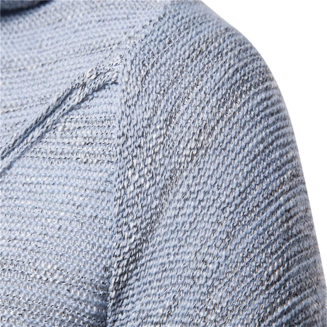 UUYUK Men Hooded Long Sleeve Pullover Knitted Mid Length Sweater