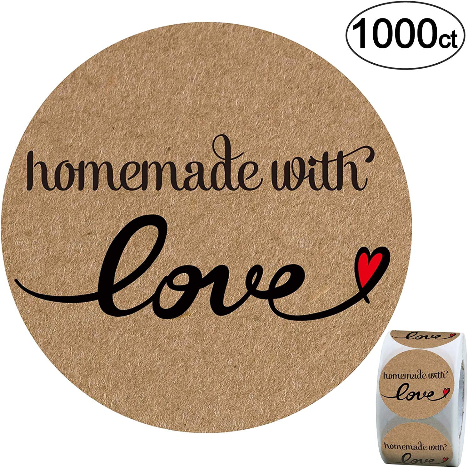 Homemade Love Stickers - 1.4 inch Kraft Paper Labels, 1000 Pack.