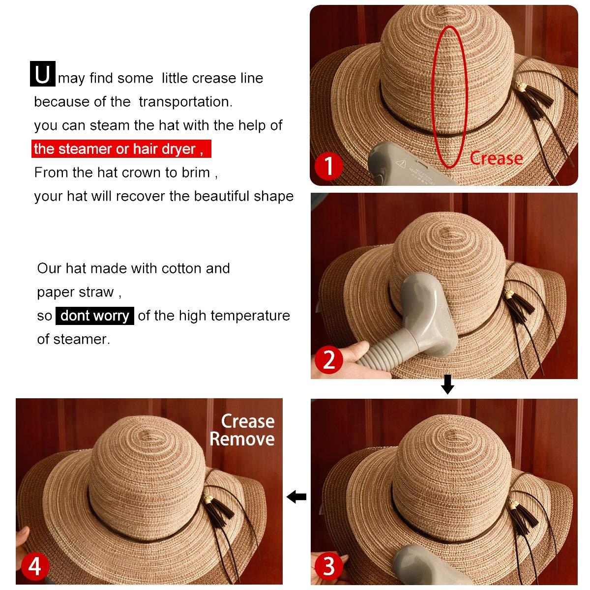 SOMALER Women Floppy Sun Hat Summer Wide Brim Beach Cap Packable Cotton Straw Hat for Travel by SOMALER (Image #7)