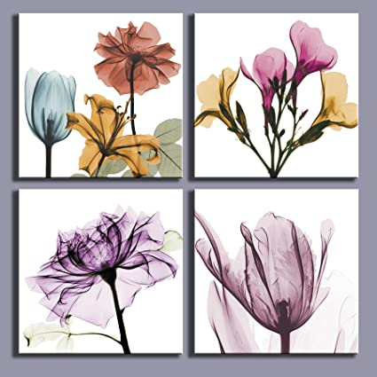 Amazon.com: Multi Color Wall Decor Elegant Floral Flowers Abstract ...