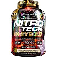 MuscleTech NitroTech 纯乳清蛋白粉,乳清分离物及乳清肽 5.5 Pound 5.5