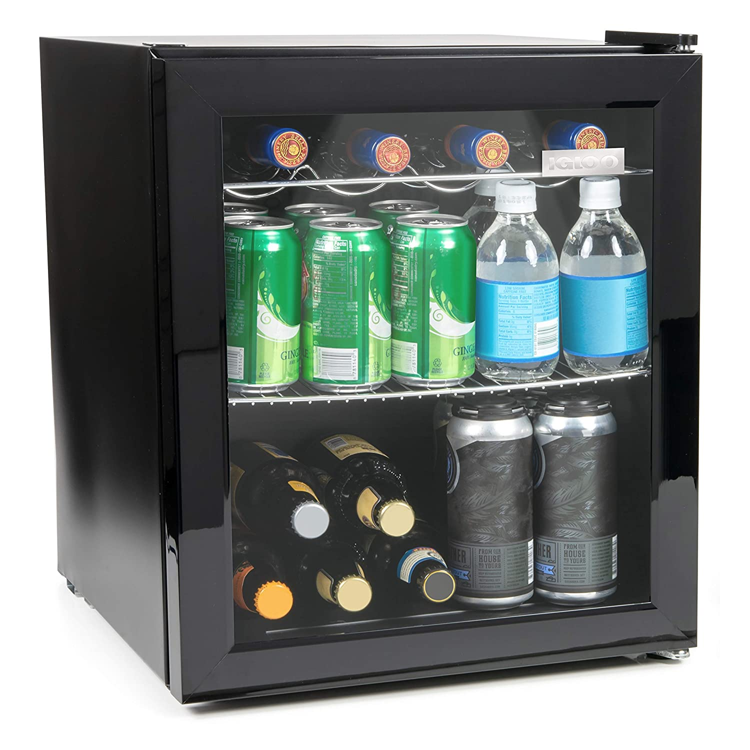 Igloo IBC16BK 60-Can Double-Pane Glass Door Beverage Cooler or 15-Wine Bottle Wine Center for Soda, Beer, Wine and Water, 1.6 Cu. Ft, Chills Low as 32 Degrees, Perfect for Offices, Bars, Dorms