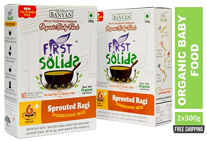 02a36b686a22 First Solids Organic Baby Food Sprouted Ragi Porridge Mix 2x300g (6+ ...