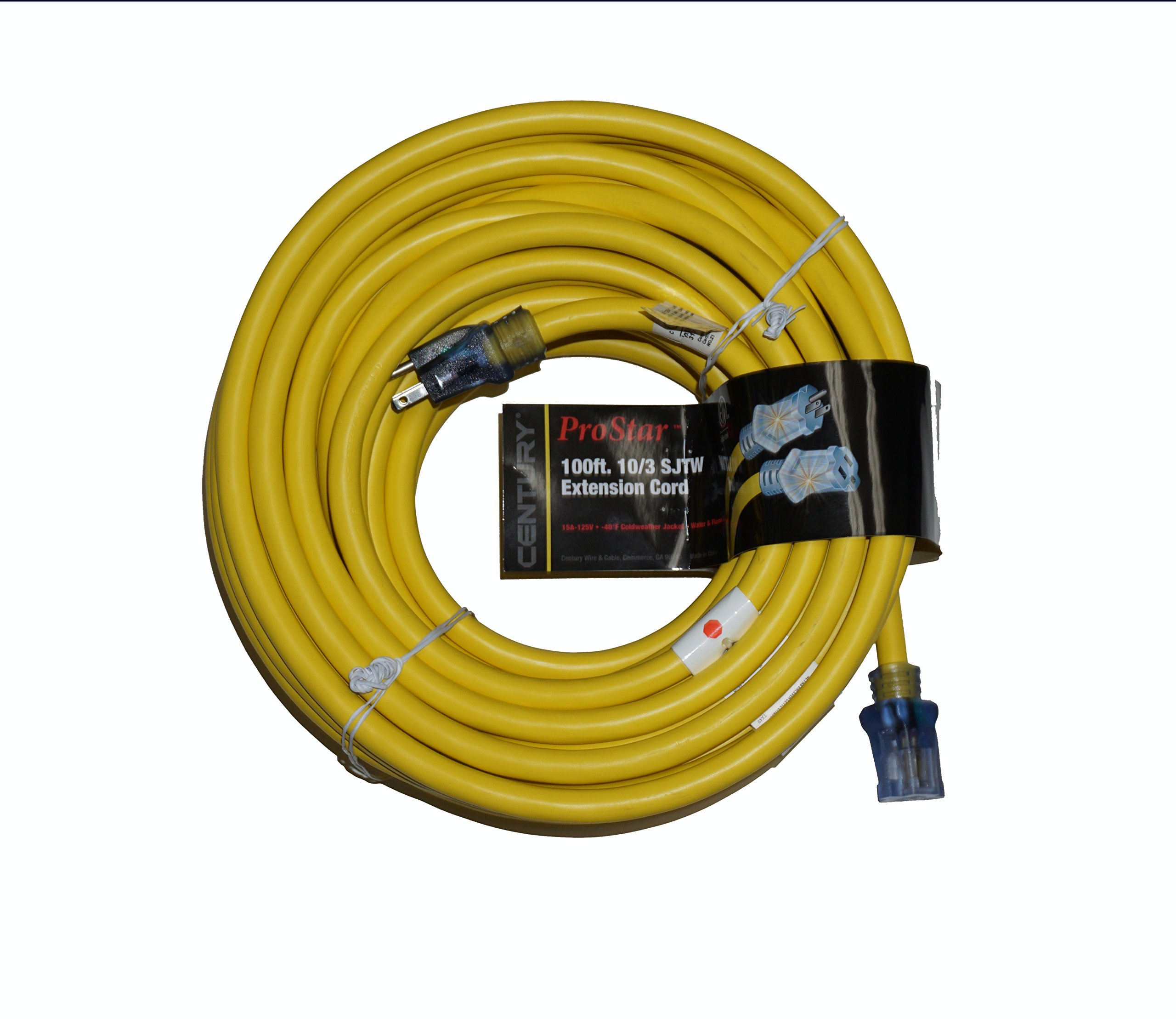 ProStar 10 Gauge SJTW 3 Conductor 100 Foot Extension Cord With Lighted Ends - Yellow by Century (Image #1)
