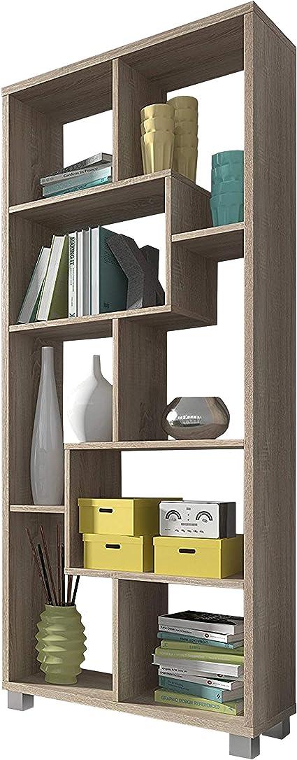 SelectionHome Estantería Multiposición, Librería para Salón o Oficina, Modelo Deluxe, Color Roble Claro, Medidas: 68,5 cm (Ancho) x 161 cm (Alto) x 25 ...