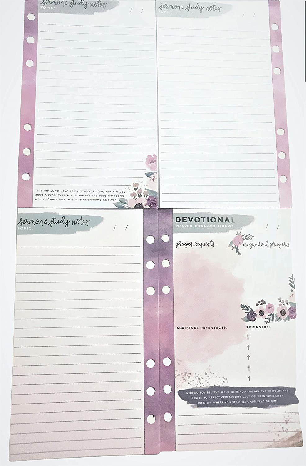 Devotional Purple Floral Planner Pages, 6 Ring Sermon Notes Prayer Requests  Answered Scripture