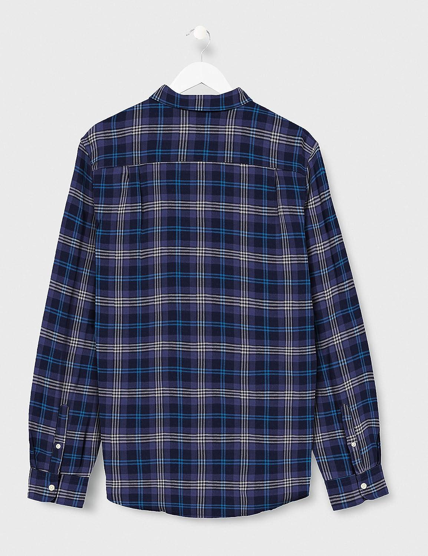 Springfield Franq Cuadros Lino-C/12 Camisa Casual, Azul ...