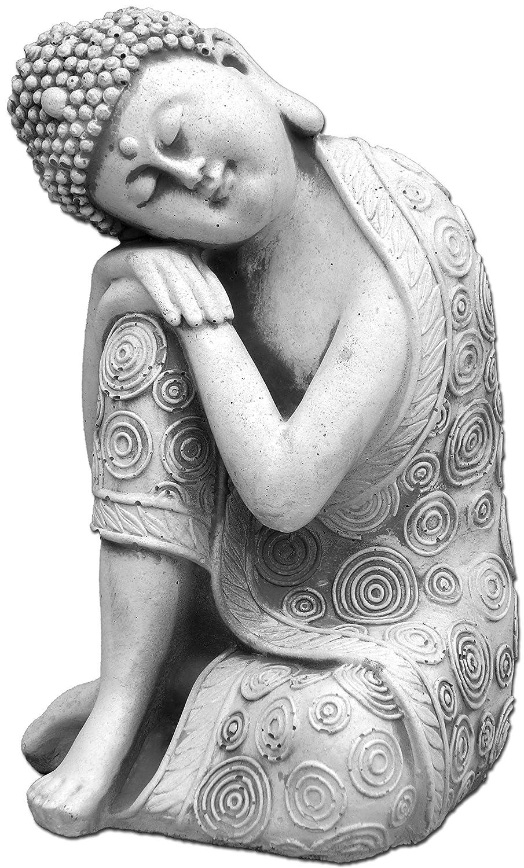 gartendekoparadies.de Bouddha Droit à Genoux Fonte en Pierre Résistant au Gel