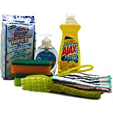 Dorm Room All Inclusive Kitchen Cleaning Kit with Ajax, Sponges, Softsoap Hand Wash & More