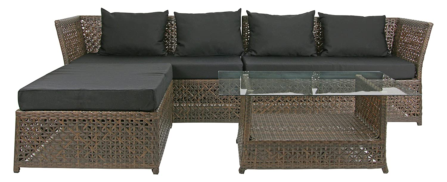rattan4life 4 teilig florenz deluxe polyrattan gartenm bel set sofa lounge gartengarnitur. Black Bedroom Furniture Sets. Home Design Ideas