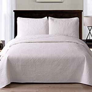 """Exclusivo Mezcla Ultrasonic 3-Piece Full/Queen Size Quilt Set with Pillow Shams, Lightweight Bedspread/Coverlet/Bed Cover - (White, 92""""x88"""")"""