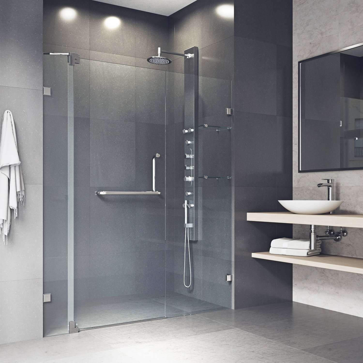 Vigo vg6042bncl60 60 inch frameless shower door with 3 8 inch clear glass and brushed nickel tools home improvement amazon canada