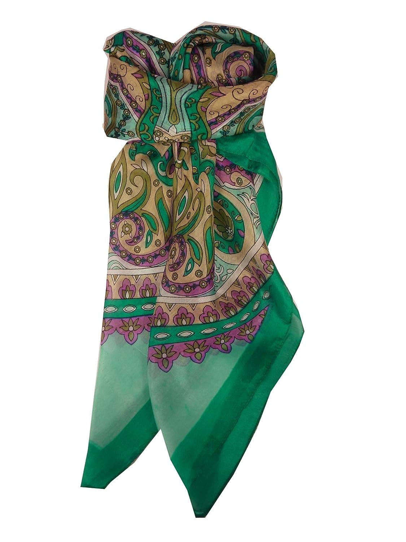 Classic Range Square Scarf 100% Mulberry Silk Mala Design Green from Pashmina & Silk