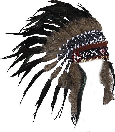 N63- Precio Reducido !!! Negro color natural tocado de plumas / Warbonnet.