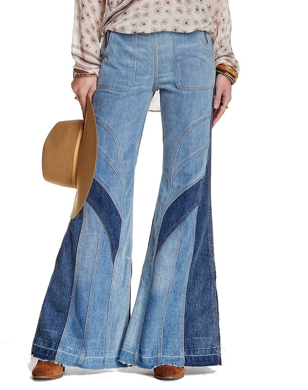 Free People Women's Tidal Wave Novelty Flare Jean (28, Pale Blue)