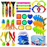 Joyjoz 30 Piece Dive Pool Toys Underwater Summer Swimming Pool Toys Gifts for Kids Teens and Adults with Diving Sticks & Rin